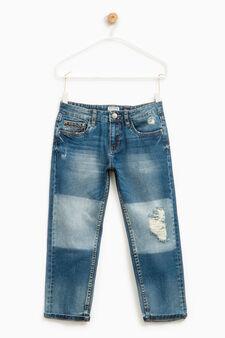Worn-effect jeans with diamanté appliqué, Denim, hi-res