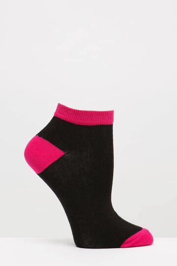 Set due paia di calze corte cotone, Nero, hi-res