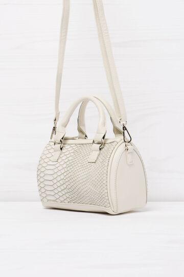 Snakeskin Boston bag with shoulder strap, White, hi-res