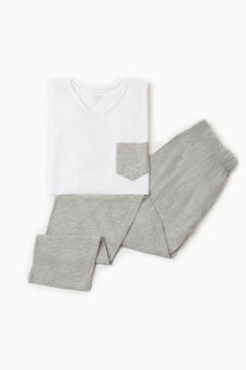 Solid colour pyjamas with pocket, Optical White, hi-res