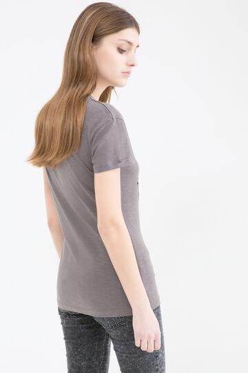 T-shirt stampa a contrasto, Grigio pietra, hi-res