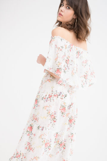 Long stretch floral dress, White, hi-res