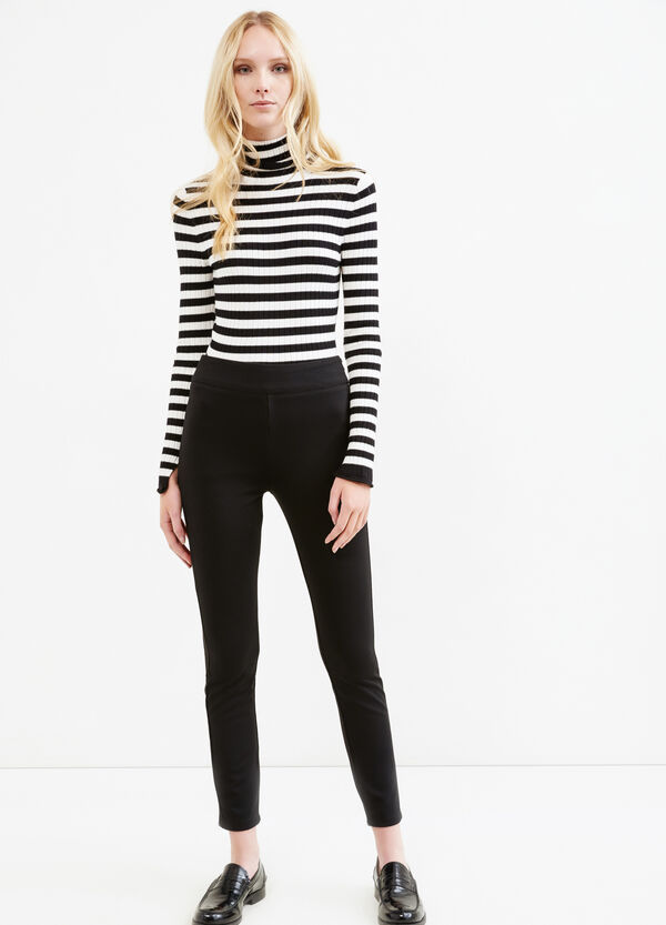 Stretch leggings with zip on side | OVS