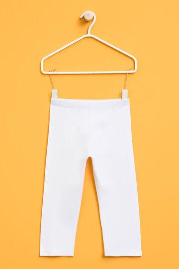 Stretch cotton leggings, White, hi-res