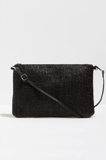 Woven shoulder bag with zip