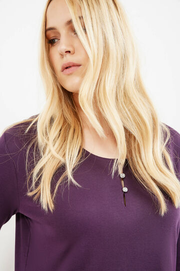 Curvy cotton T-shirt with buttons, Purple, hi-res
