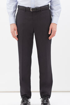 Elegant, viscose blend trousers, Grey, hi-res