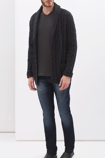 T-shirt puro cotone maniche lunghe, Grigio scuro, hi-res