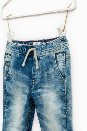 Slim-fit, worn-effect jeans with drawstring, Soft Blue, hi-res