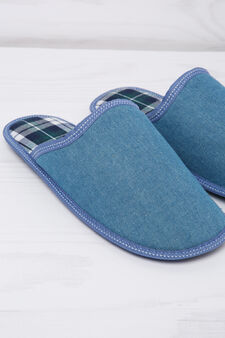 Slippers with tartan lining, Light Blue, hi-res