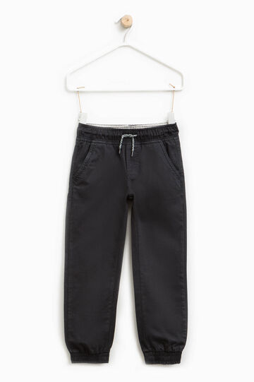 Cotton twill trousers with drawstring, Black, hi-res