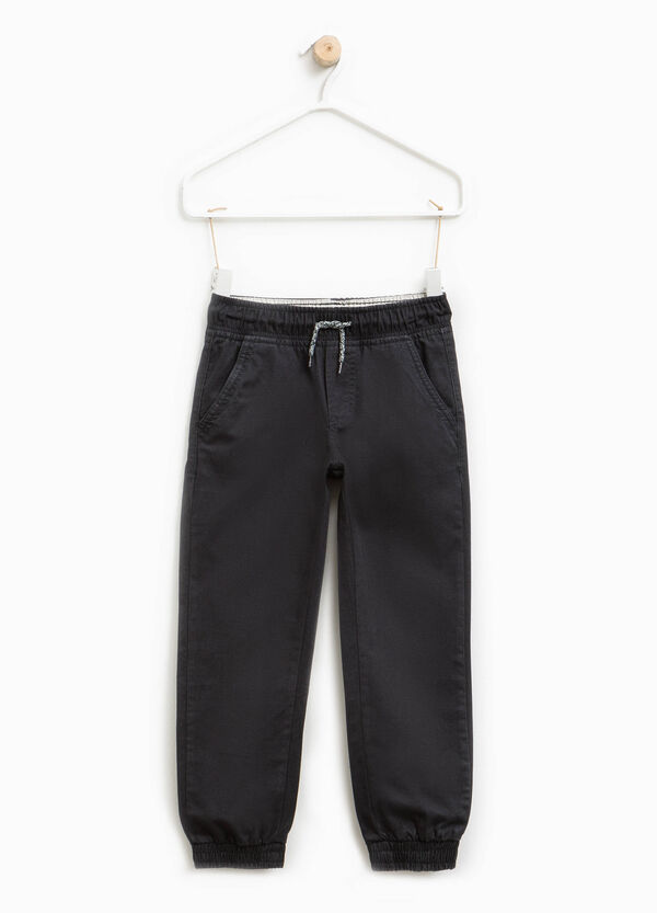 Cotton twill trousers with drawstring | OVS