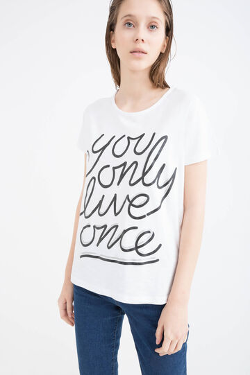 Cotton T-shirt with printed lettering, White/Black, hi-res