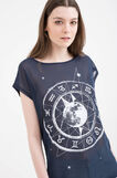 Semi-transparent T-shirt with print, Navy Blue, hi-res