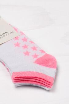 Set due paia di calze corte stretch, Bianco/Rosa, hi-res