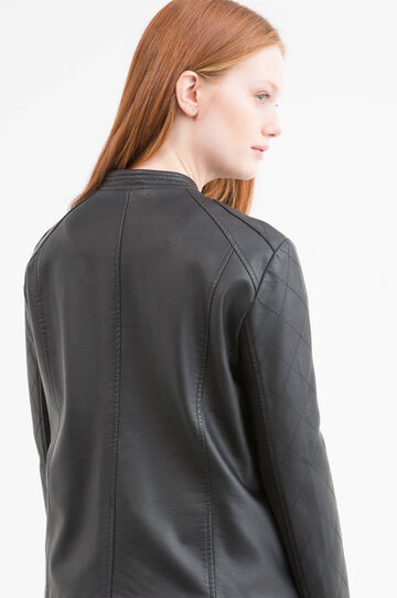 Solid colour leather look Curvy jacket, Black, hi-res