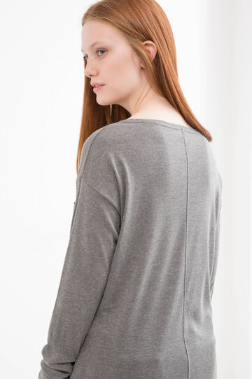 100% cotton Curvy T-shirt with pocket, Grey Marl, hi-res