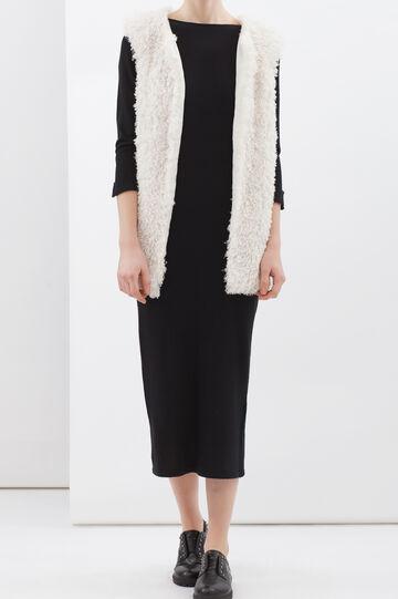 Plain faux fur waistcoat, Light Beige, hi-res