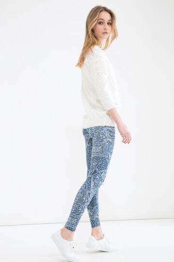 Printed stretch leggings, White/Blue, hi-res
