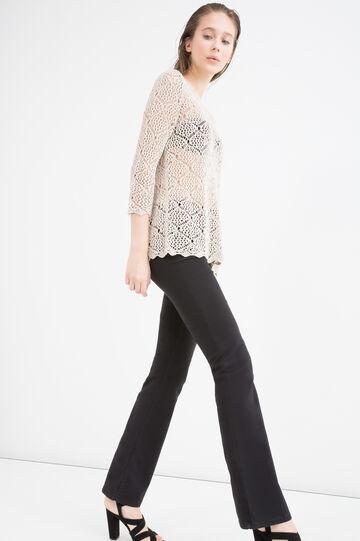 Pullover tricot traforato, Beige, hi-res