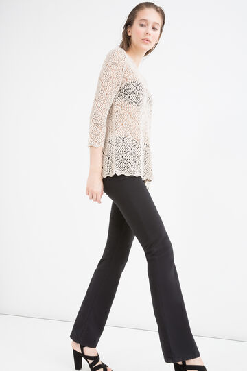 Openwork knit pullover, Beige, hi-res