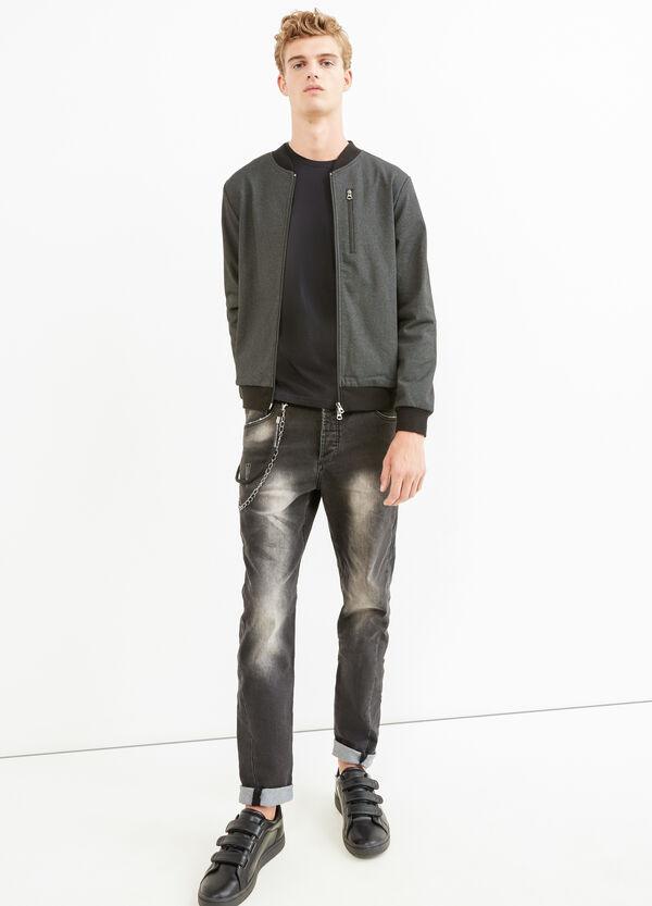 Solid colour cotton blend bomber jacket | OVS