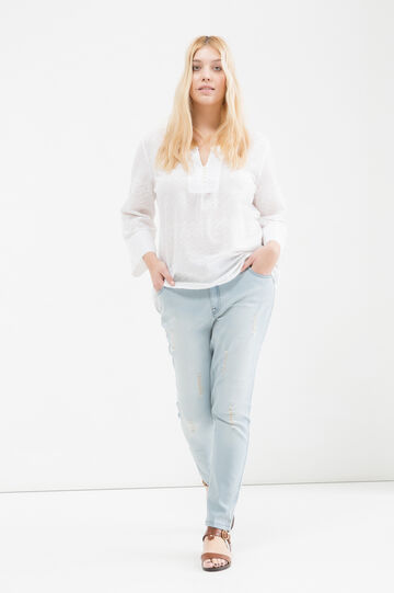 Curvy cotton V-neck blouse, White, hi-res