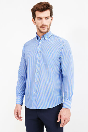 Camicia formale a righe regular fit, Blu/Azzurro, hi-res