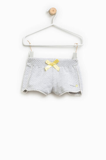 Polka dot shorts in stretch cotton, Grey Marl, hi-res