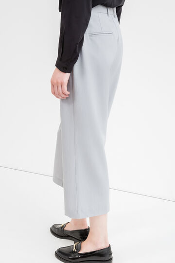 Crop trousers in stretch viscose, Grey, hi-res