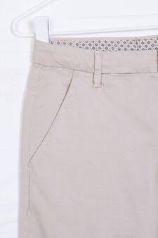 Solid colour stretch cotton Bermudas, Beige, hi-res