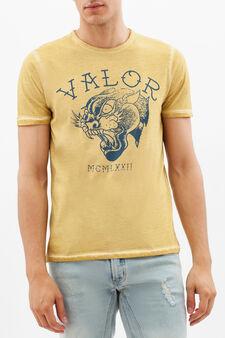 T-shirt stampata con cuciture a contrasto, Giallo senape, hi-res