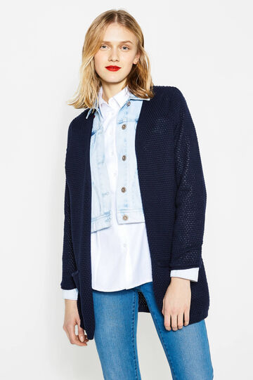 Cardigan in cotone tricot a maglia larga, Blu navy, hi-res