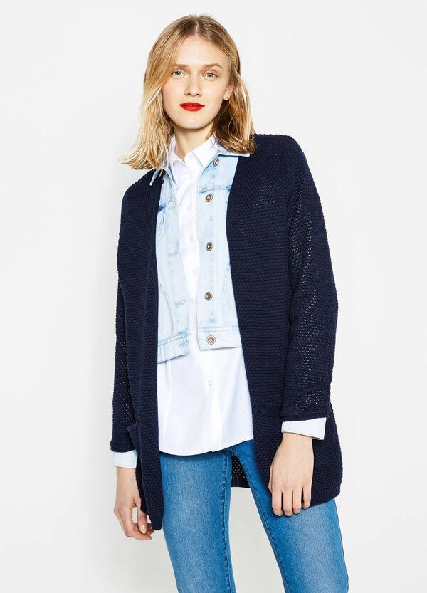 Cardigan in cotone tricot a maglia larga | OVS