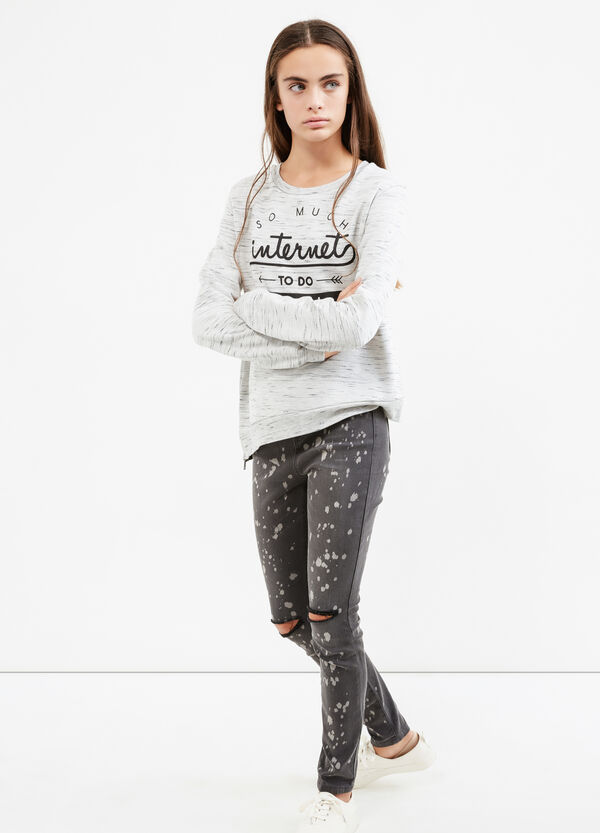 Mélange Teen sweatshirt with printed lettering | OVS