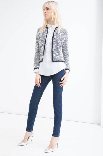Cotton blend fringed blazer, White/Blue, hi-res
