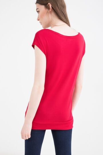 T-shirt pura viscosa tinta unita, Rosso, hi-res