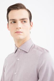 Camicia slim fit in puro cotone, Rosso, hi-res