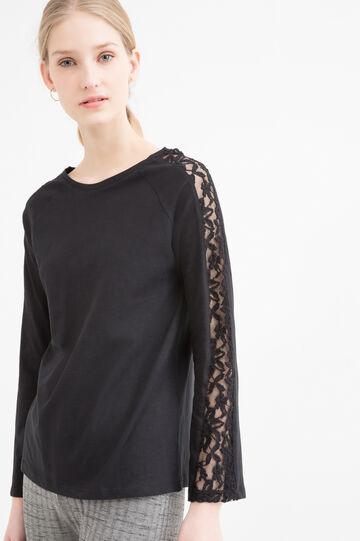 T-shirt puro cotone con pizzo, Nero, hi-res