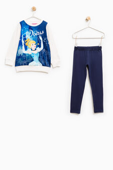 Cotton tracksuit with Cinderella print, White/Blue, hi-res