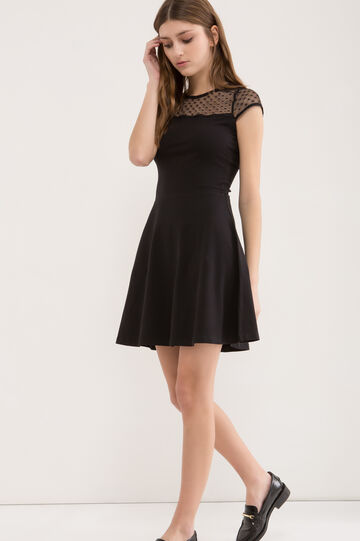Stretch dress with full round skirt, Black, hi-res
