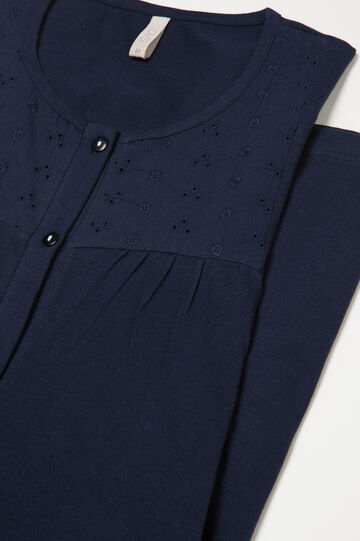 Cotton nightshirt with buttons, Navy Blue, hi-res