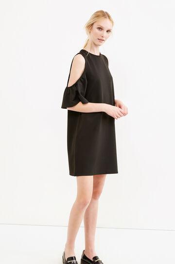 Short stretch dress with flounces, Black, hi-res
