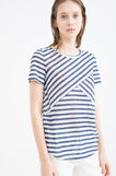 T-shirt stretch fantasia a righe, Bianco/Blu, hi-res