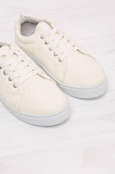 Low-rise sneakers with snakeskin upper, White, hi-res