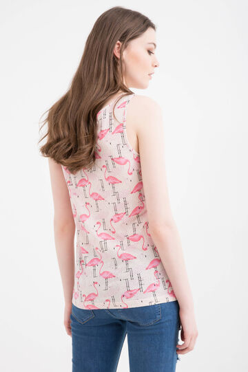 Cotton and modal blend printed top.