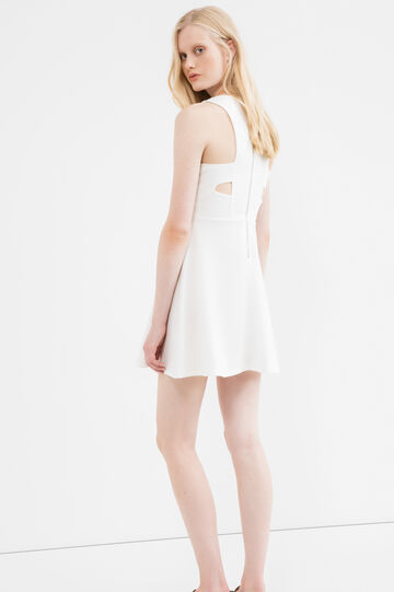 Cotton blend dress with zip on the back, White, hi-res