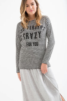 Teen stretch striped T-shirt, Grey, hi-res
