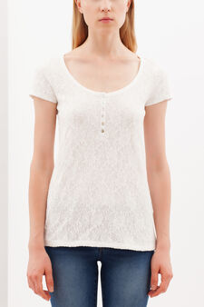 Lace T-shirt with Granddad collar, Milky White, hi-res