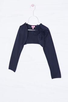 Coprispalle stretch con fiocco in tulle, Blu navy, hi-res